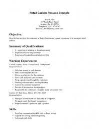 Resumes Retail Cashier Sample Job And