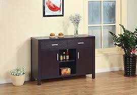 Smart Home Modern Buffet Fine Dining Serving Table Stand Furniture Dark Espresso