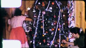 People Trim CHRISTMAS TREE Family Decorates 1960s Vintage Film Home Movie 3181 Stock Video Footage