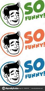 Face Laughing Man Logo Set So Funny Stock Vector