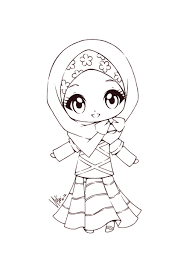 Muslim Girl Coloring Page Kids Drawing And Pages Marisa