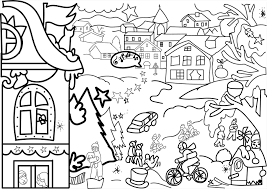 Coloring Pages December And Free Printable Advent Calendar Seen Gingerbread House Getcom Christmas Village