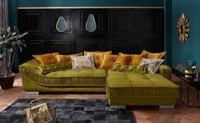 leonique ecksofa diwan luxus mit besonders hochwertiger polsterung für bis zu 140 kg pro sitzfläche mit vielen losen kissen und faltenwurf