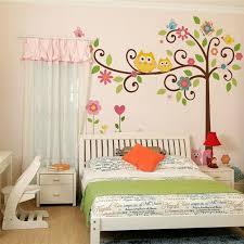 Large Owls Scroll Trees Wall Stickers Kids Room Decor Diy Nursery Cartoon Children Home Decals Animal