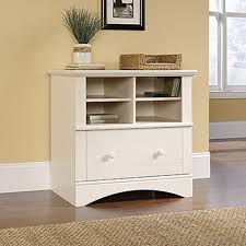 White Storage Cabinets At Home Depot by Sauder Harbor View Antiqued White File Cabinet 158002 The Home Depot