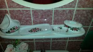 details zu hübsches set für s badezimmer porzellan mit rosa