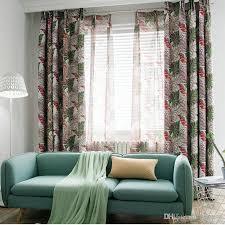 großhandel moderne muster tropical printed blackout vorhänge grün blätter für wohnzimmer regenwald tüll vorhang für schlafzimmer fenster vorhänge