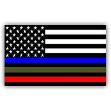 Police Military And Fire Thin Line USA Flag Decal American Sticker Blue Green Red Stripe For Cars Trucks Honor Support Of Our Officers