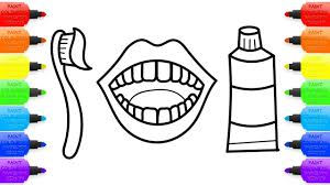 Toothpaste Toothbrush And Teeth Childrens Coloring Books Art Colors For Kids