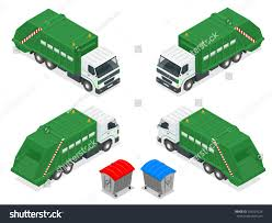 Isometric Garbage Truck Trash Green Rubbish Stock Vector (Royalty ...