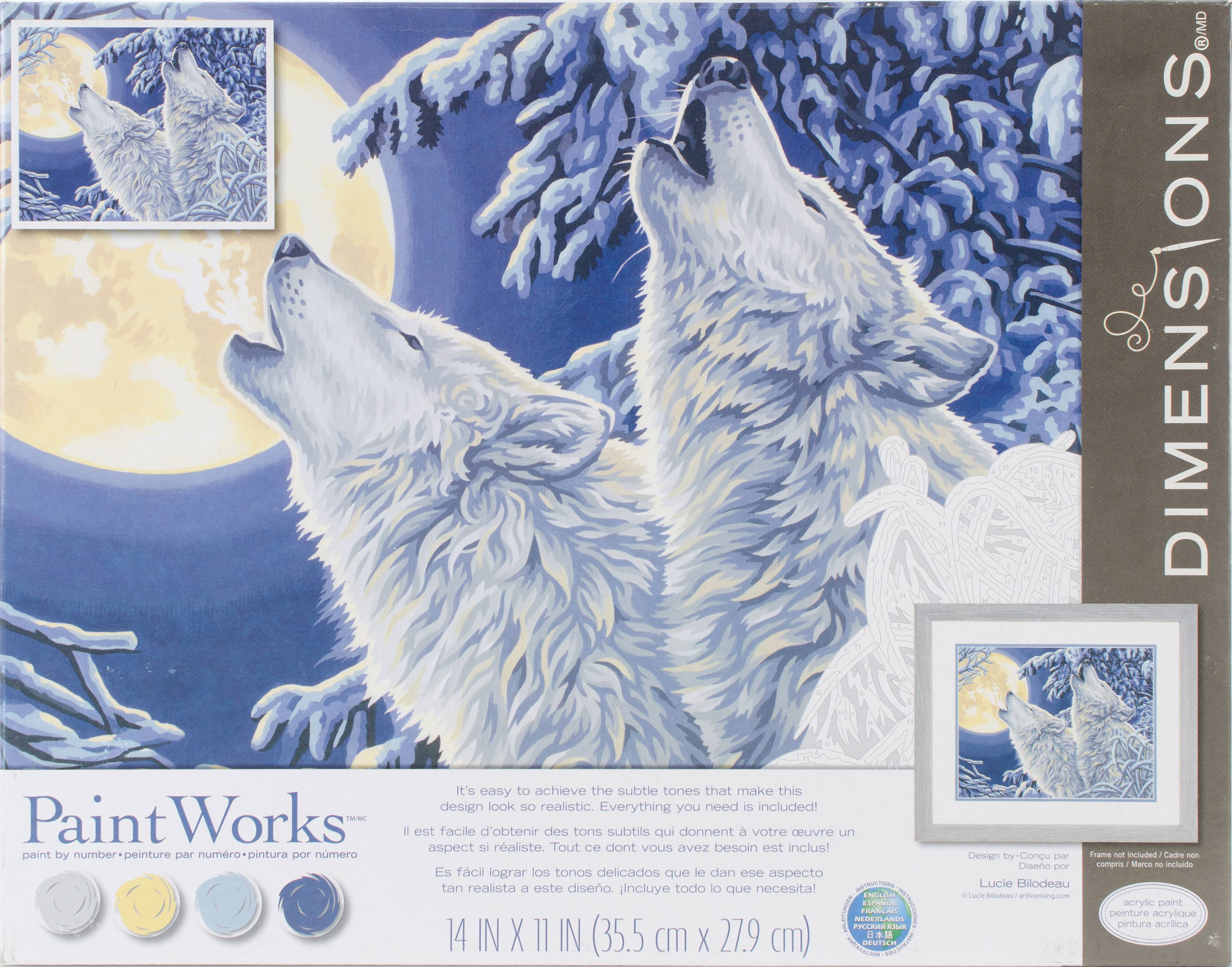 "Paint Works Paint by Number Kit 14""x11"" Moonlight Wolves"
