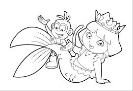 Print Dora Princess Coloring Page Mermaid