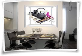wandtattoo wandbild fenster teezeit blüte teatime wohnzimmer küche esszimmer deko