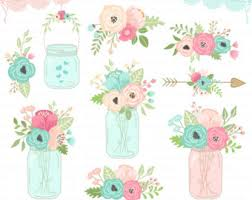 Mason Jar Clipart FLORAL MASON JARS Rustic Jars Wedding Invitation