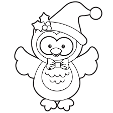 Holiday Owl Coloring Page