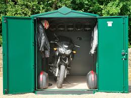 Contemporary Outdoor Garage with Green Metal Motorcycle Shed and