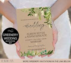 Rustic Wedding Invitation Template Greenery Watercolor Kraft DIY Editable PDF Download Instantly