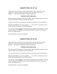 Adjectives A to Z