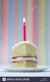 Slice of birthday cake with a lighted candle against a colourful pastel striped background