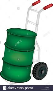 100 Drum Hand Truck Or Dolly Loading A Green Color Of Oil Or Oil Barrel