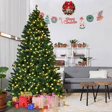 Costway 7Ft 75Ft 8Ft Pre Lit PVC Artificial Christmas Tree Hinged W