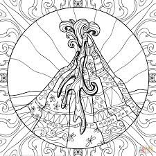 Download Coloring Pages Volcano Page Zentangle Free Printable