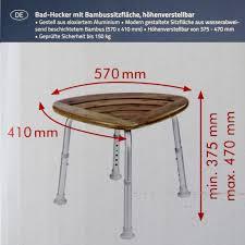 badhocker mit bambussitzfläche badezimmer ridder alu gestell höhenverstellbar 32
