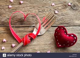 Table Setting Two Forks For Valentines Day With Red Hearts On Rustic Wooden Background Copy Space Love Romance To Eat Or D