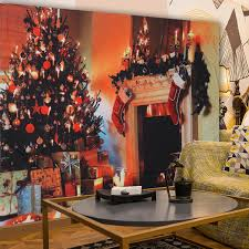 Christmas Tree Fireplace Pattern Tapestry Wall Art Hanging Tapestries Bedspread Bedroom Decor