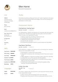 Catering Server Resume Sample