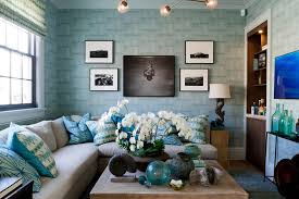 Blue Color Decoration Ideas For Living Room Light Wallpaper In The Grayish Decorated Space