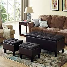 CHIC Designs Faux Leather 3 Piece Storage Ottoman In Brown