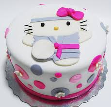 Cute karate hello kitty cakes with grey and bright pink cake decors PNG