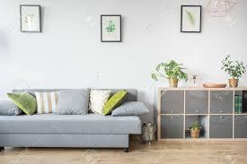 salon avec canapé gris salon avec canapé gris oreillers décoratifs et bibliothèque banque
