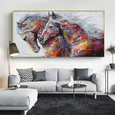 kunst glowing colours graffiti two running horses canvas