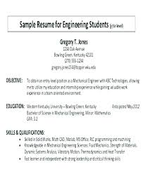 Career Objectives On A Resume Example Objective Sample In For Engineering Student Culinary