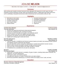 assistant store manager resume sle manager resumes livecareer