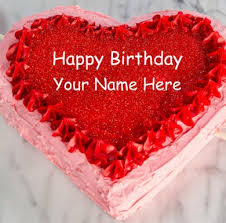 Write Name Lover Happy Birthday Cake line Anything Name Wishes Red Heart Shaped Birthday Cake P