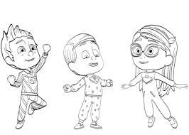 Click To See Printable Version Of PJ Masks Pajama Heroes Coloring Page