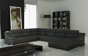 Grey Leather Sectional Living Room Ideas furniture grey leather sectional sofa with white furry rug and