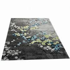 designer teppich moderner teppich wohnzimmer teppich blumenmotiv grau türkis grün w