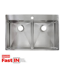 Double Kitchen Sinks With Drainboards by Shop Franke Fast In 33 5 In X 22 5 In Double Basin Stainless Steel