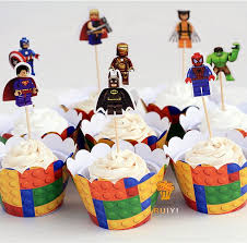 48pcs LEGO Superman Batman Captain America Cupcake Wrappers Kids Birthday Party Supplies Cases Topper