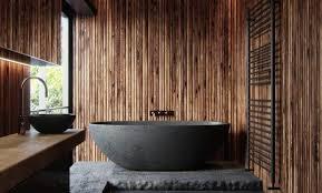 badezimmer thema natur schwarz und holz badewanne schiefer