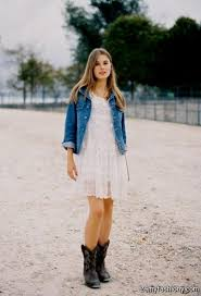 Dress With Cowboy Boots And Denim Jacket 2016 2017