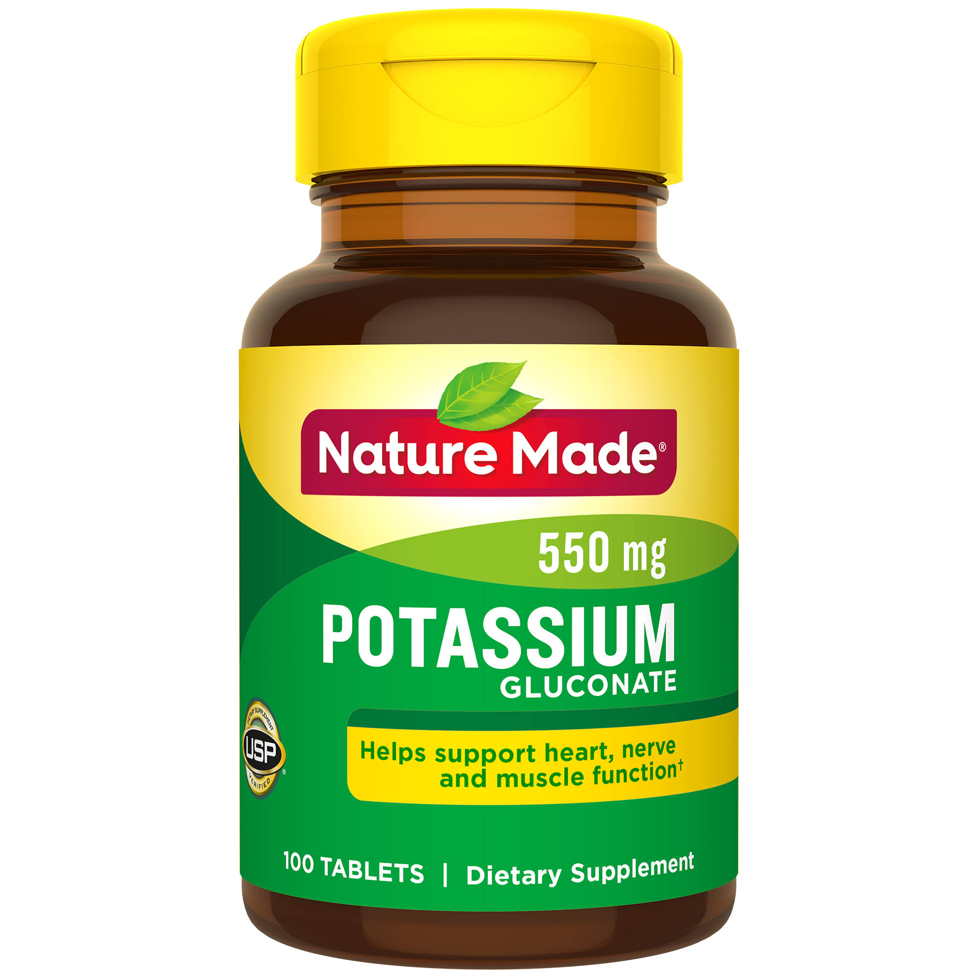 Nature Made Potassium Gluconate Dietary Supplement - 100 Tablets