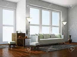wohnzimmer mit möbeln in der nähe des panoramafenster
