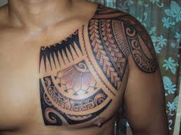 Amazing Hawaiian Tribal Tattoo On Left Chest And Shoulder