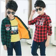 Boys Velvet Shirt Casual Clothes Kids Winter Plush Inside Shirt