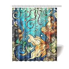 Amazon Personalized Funny Beautiful Mermaid Shower Curtain